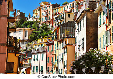 tradicional, mediterrâneo, arquitetura, de, riomaggiore,...