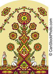 tradicional, menina, árvore, homem