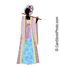 tradicional, menina, flauta, traje, chinês