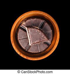 tradicional, mexicano, barra chocolate, em, tigela madeira