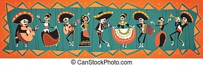 tradicional, mexicano, de, halloween, dia, muerto,...