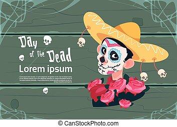 tradicional, mexicano, dia das bruxas, morto, decoração, ...