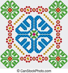 tradicional, mexicano, ornamentos, conjunto