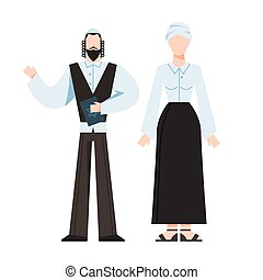 tradicional, monk., hembra, religioso, judío, figure., macho