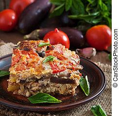 tradicional, -, moussaka, plato, griego