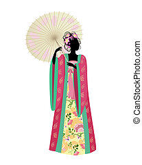 tradicional, mulher, guarda-chuva, traje, chinês