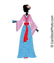 tradicional, mulher, traje, chinês, pássaro