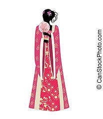 tradicional, mulher, ventilador, traje, chinês