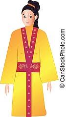 tradicional, mulher, vestido, asiático