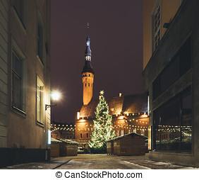 tradicional, natal, mercado, em, cidade velha, de, tallinn