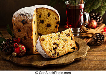 tradicional, natal, panettone, secado, frutas