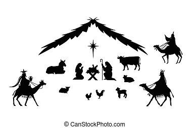 tradicional, navidad, scene.