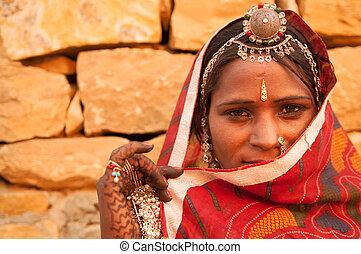 tradicional, niña, indio, secreto