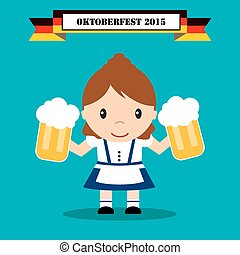 tradicional, oktoberfest, cerveja, mulher, traje