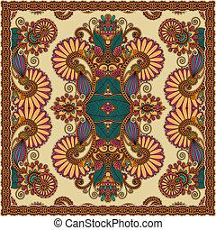tradicional, ornamental, cachemira, floral, bandanna