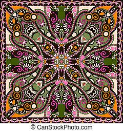 tradicional, ornamental, floral, cachemira, bandanna