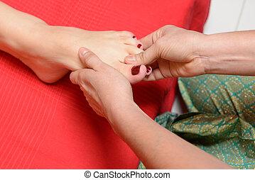tradicional, pé, tailandês, massagem