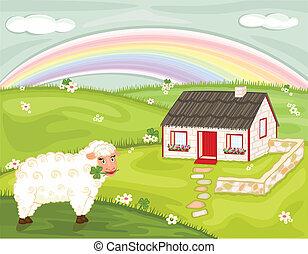 tradicional, país, irlandês, cabana, paisagem