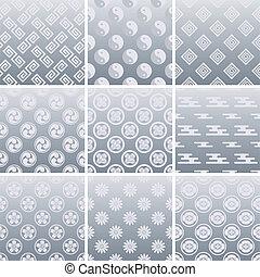 tradicional, padrão, japoneses, prata