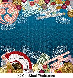 tradicional, padrão, japoneses