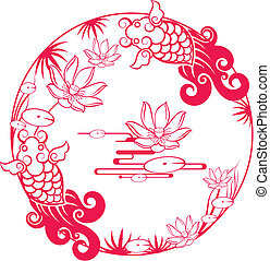 tradicional, padrão, peixe, afortunado, chinês
