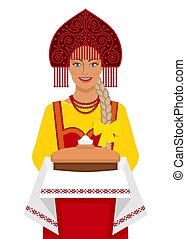 tradicional, paleto, russo, menina, sal, pão