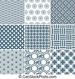 tradicional, patrón, conjunto, japonés