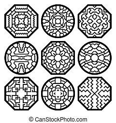 tradicional, patrón, coreano, vector, chino