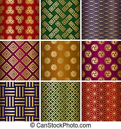 tradicional, patrones, conjunto, japonés