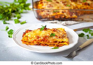 tradicional, pedaço, lasanha, carne, italiano