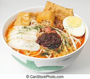 tradicional, picante, sopa, popular, singapur, peranakan, ...