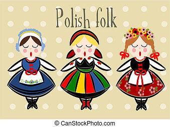 tradicional, polaco, -, traje, vector.