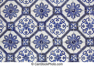tradicional, portugués, azulejos, cerámico