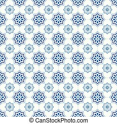tradicional, portugués, azulejos, florido