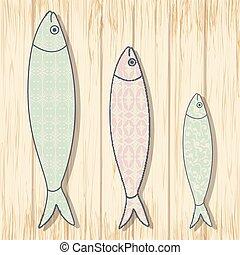 tradicional, portugués, icon., coloreado, sardinas, con, geométrico, galón, patrones, en, de madera, fondo., pez, vector, ilustración
