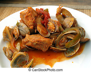 tradicional, portugués, mariscos, comida, cataplana.