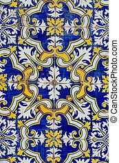 tradicional, português, azulejos, glazed