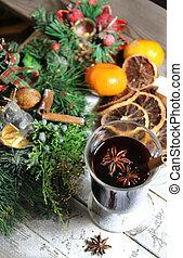 tradicional, puñetazo, plano de fondo, de madera, navidad