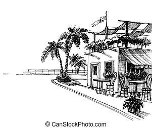 tradicional, restaurante, por, el, orilla de mar, bosquejo