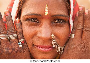 tradicional, retrato, niña, indio