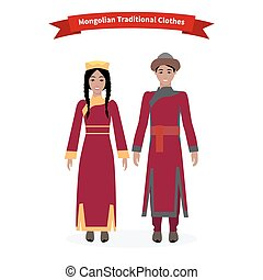 tradicional, ropa, mongol, gente