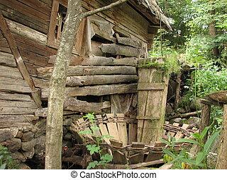 tradicional, rumano, maramures, aldea