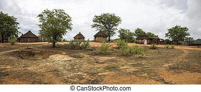 tradicional, rural, africano, himba, chozas, cerca de,...