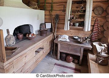 tradicional, ruso, interior, horno, casa