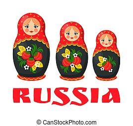 tradicional, ruso, matryoshka, ilustración, muñeca