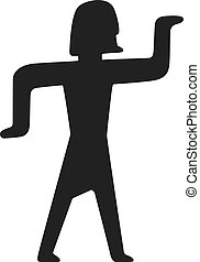 tradicional, símbolos, egito, vector., pessoas