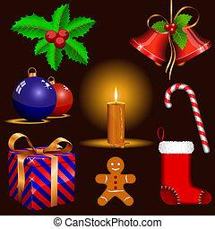 tradicional, símbolos, natal