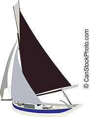 tradicional, sailing barco