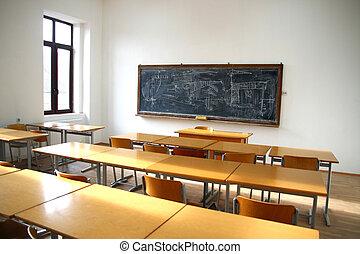 tradicional, sala aula, interior