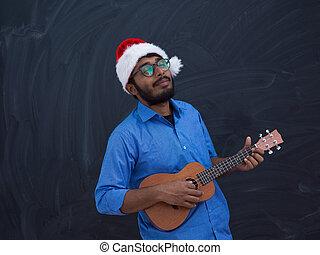 tradicional, santa, pequeño, américa, tocar la guitarra, ...